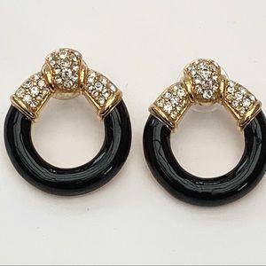 Swarovski Brand Black Crystal Earrings Pierced